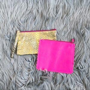 Ipsy makeup bag bundle gold and pink